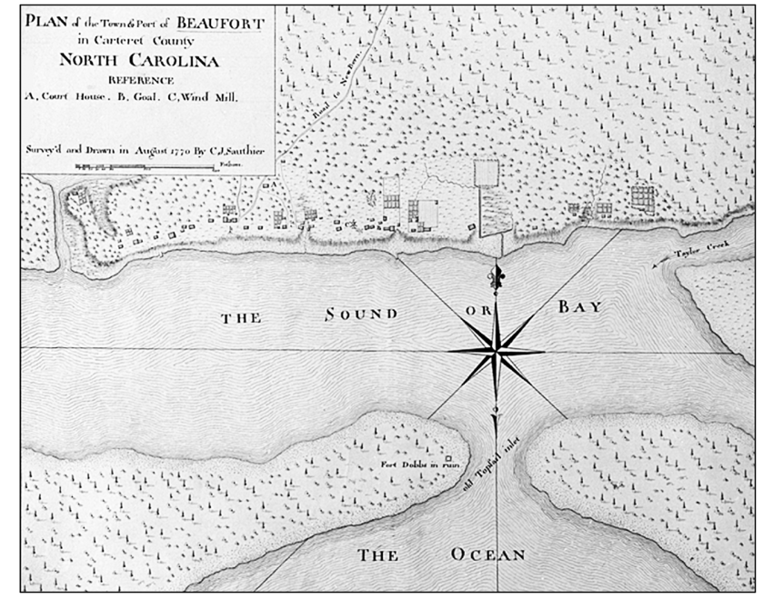 Beaufort, North Carolina - Sauthier map, 1770